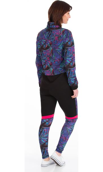 Printed Zip Up Gym Jacket Black/Pink/Multi - Gallery Image 2
