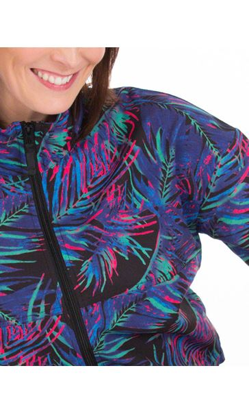 Printed Zip Up Gym Jacket Black/Pink/Multi - Gallery Image 3
