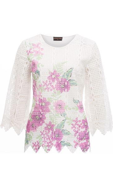 Anna Rose Printed Lace Front Top White/Lilac