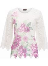 Anna Rose Printed Lace Front Top White/Lilac - Gallery Image 1