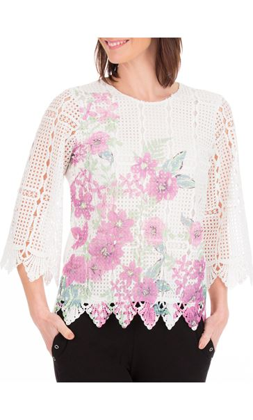 Anna Rose Printed Lace Front Top White/Lilac - Gallery Image 2