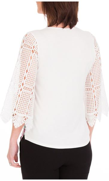 Anna Rose Printed Lace Front Top White/Lilac - Gallery Image 3