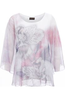 Anna Rose Printed Sheer Embellished Top