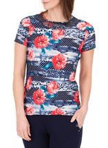 Anna Rose Sequin Trim Floral Top Red/Navy - Gallery Image 1