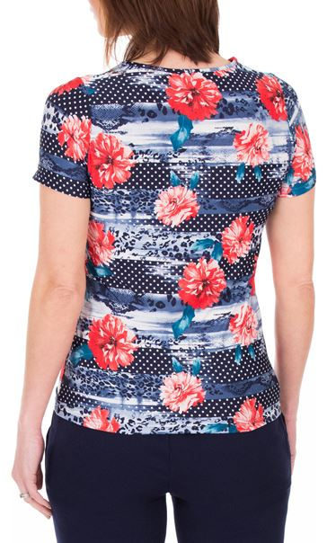 Anna Rose Sequin Trim Floral Top Red/Navy - Gallery Image 2