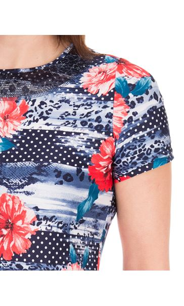 Anna Rose Sequin Trim Floral Top Red/Navy - Gallery Image 3