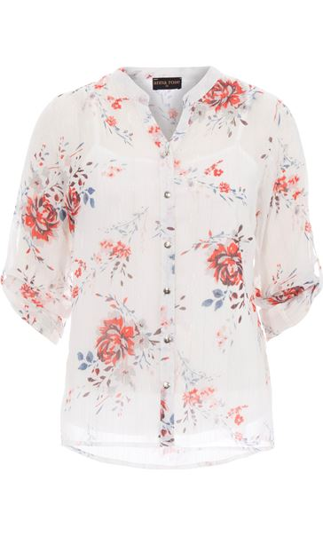 Anna Rose Floral Print Blouse Ivory/Red/Multi