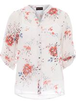 Anna Rose Floral Print Blouse Ivory/Red/Multi - Gallery Image 1