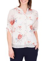 Anna Rose Floral Print Blouse Ivory/Red/Multi - Gallery Image 2