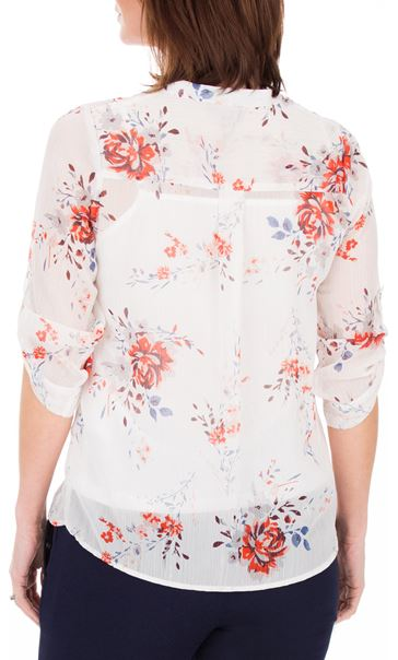Anna Rose Floral Print Blouse Ivory/Red/Multi - Gallery Image 3