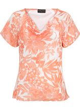 Anna Rose Bias Cut Printed Chiffon Top Coral/Multi - Gallery Image 1