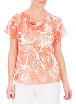Anna Rose Bias Cut Printed Chiffon Top Coral/Multi - Gallery Image 2