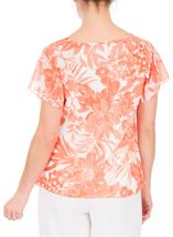 Anna Rose Bias Cut Printed Chiffon Top Coral/Multi - Gallery Image 3