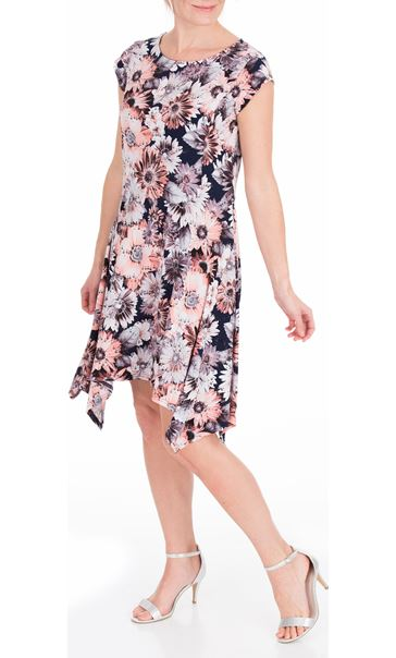 Anna Rose Floral Hanky Hem Jersey Dress