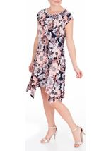 Anna Rose Floral Hanky Hem Jersey Dress Coral/Multi - Gallery Image 1