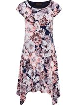 Anna Rose Floral Hanky Hem Jersey Dress Coral/Multi - Gallery Image 2