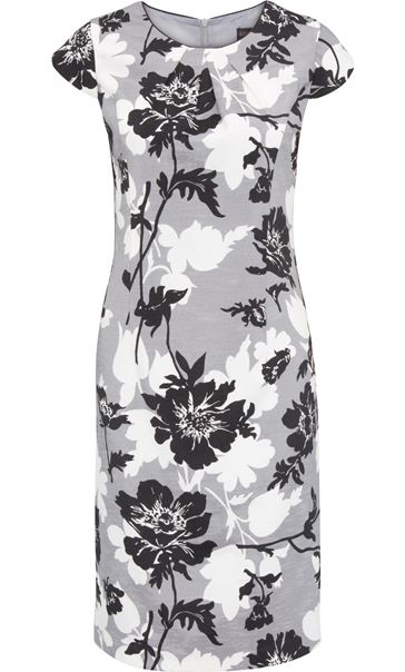 Anna Rose Printed Shantung Dress Black/Ivory/Grey