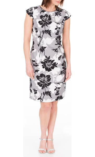 Anna Rose Printed Shantung Dress Black/Ivory/Grey - Gallery Image 2