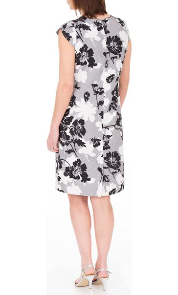 Anna Rose Printed Shantung Dress Black/Ivory/Grey - Gallery Image 3