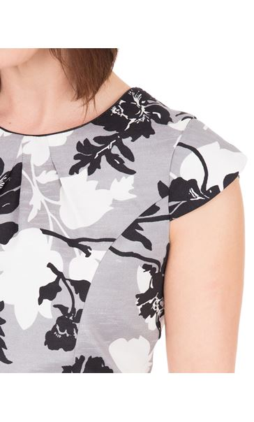 Anna Rose Printed Shantung Dress Black/Ivory/Grey - Gallery Image 4