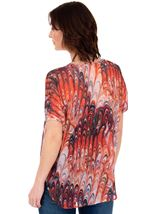 Embellished Print Georgette Top Cerise/Papaya - Gallery Image 2