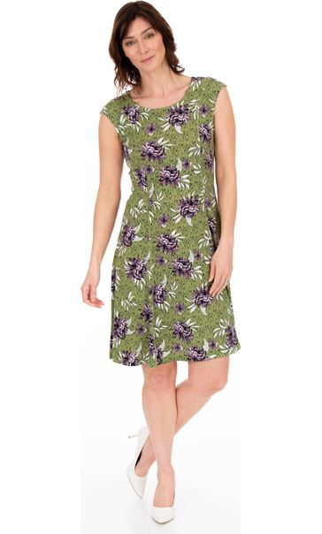 Printed Panelled Jersey Short Sleeve Dress Khaki/Lilac