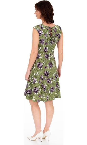 Printed Panelled Jersey Short Sleeve Dress Khaki/Lilac - Gallery Image 2