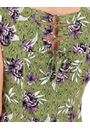 Printed Panelled Jersey Short Sleeve Dress Khaki/Lilac - Gallery Image 3