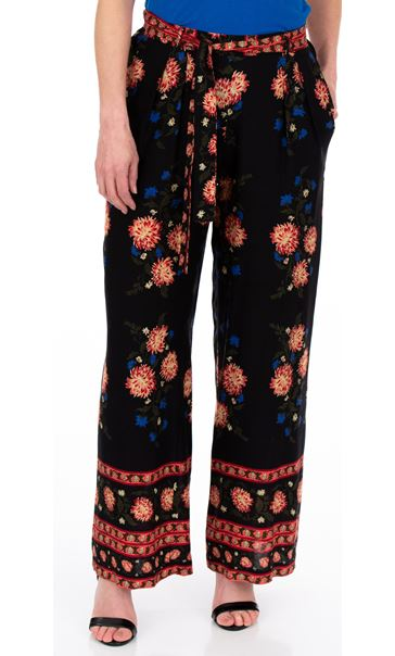 Printed Pull On Wide leg Trousers Black/Cerise/Papaya