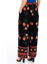 Printed Pull On Wide leg Trousers Black/Cerise/Papaya - Gallery Image 2