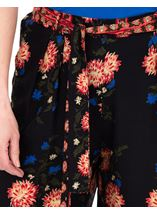 Printed Pull On Wide leg Trousers Black/Cerise/Papaya - Gallery Image 3