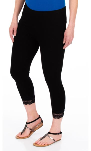 Cropped Lace Trim Leggings Black