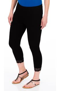 Lace Trim Cropped Jersey Leggings - Black
