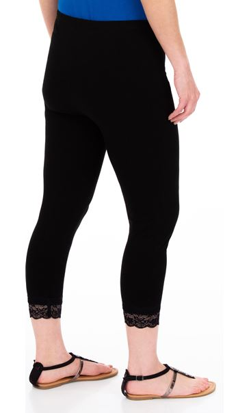 Cropped Lace Trim Leggings Black - Gallery Image 2