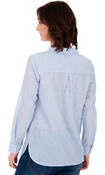 Striped Long Sleeve Cotton Top Blue/White - Gallery Image 2