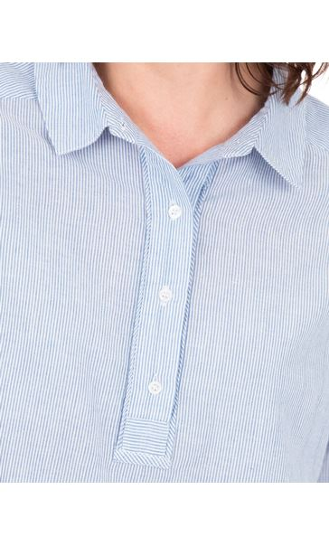 Striped Long Sleeve Cotton Top Blue/White - Gallery Image 3