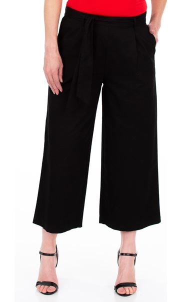 Wide leg Cropped Cotton Trousers Black