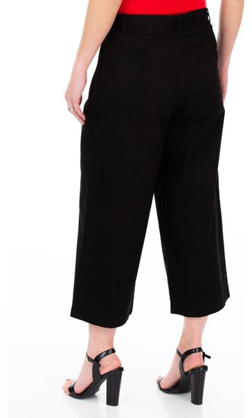 Wide leg Cropped Cotton Trousers Black - Gallery Image 2