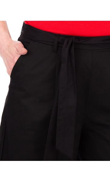 Wide leg Cropped Cotton Trousers Black - Gallery Image 3