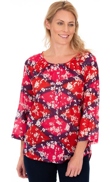 Printed Cotton Turn Sleeve Top Cerise Multi