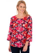 Printed Cotton Turn Sleeve Top Cerise Multi - Gallery Image 1