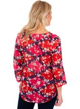 Printed Cotton Turn Sleeve Top Cerise Multi - Gallery Image 2