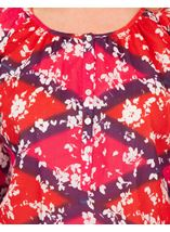 Printed Cotton Turn Sleeve Top Cerise Multi - Gallery Image 3