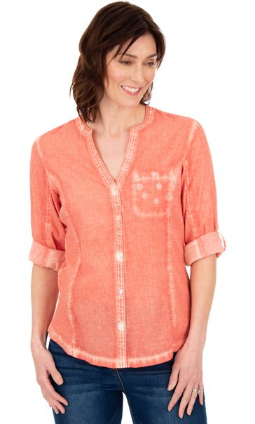 Washed Turn Sleeve Blouse Papaya