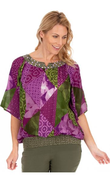 Printed Embellished Short Sleeve Crinkle Top Lilac/Khaki