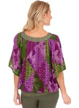 Printed Embellished Short Sleeve Crinkle Top Lilac/Khaki - Gallery Image 2