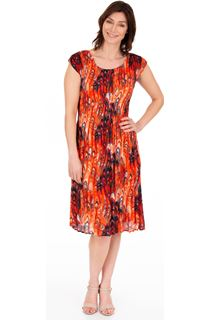 Pleated Swirl Print Short Sleeve Dress
