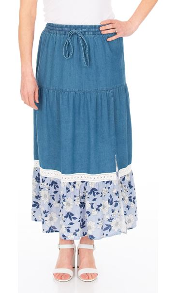 Floral Printed Hem Pull On Maxi Skirt Denim Blue