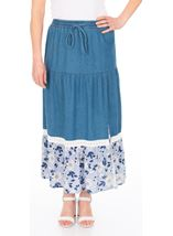 Floral Printed Hem Pull On Maxi Skirt Denim Blue - Gallery Image 1
