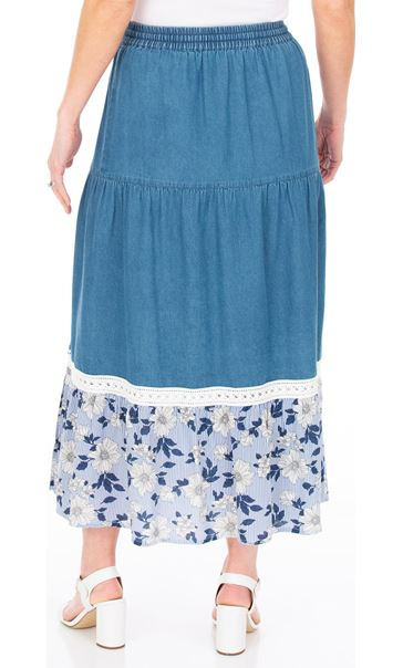 Floral Printed Hem Pull On Maxi Skirt Denim Blue - Gallery Image 2